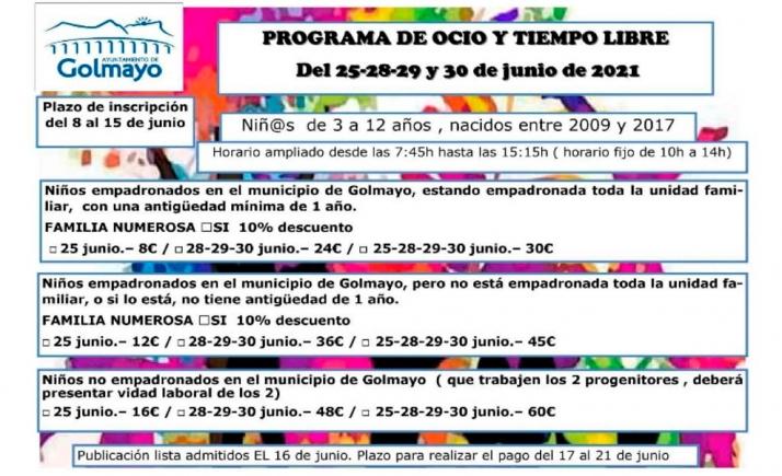 Foto 1 - Abre la inscripción para el programa de ocio y tiempo libre de Golmayo