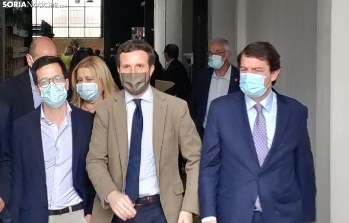Pablo Casado y Mañueco junto a Tomás Cabezón y Yolanda de Gregorio el viernes pasado en Soria.