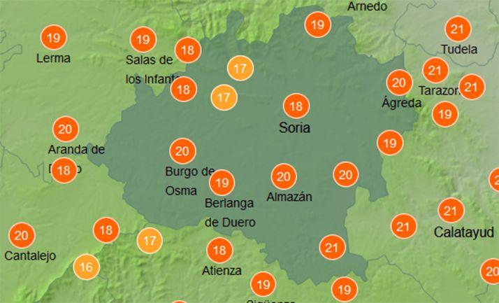 Temperaturas hoy a las 12:00 horas. /AEMET