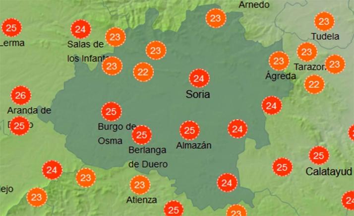 Mapa con la sensación térmica a las 12:00 horas. /AEMET