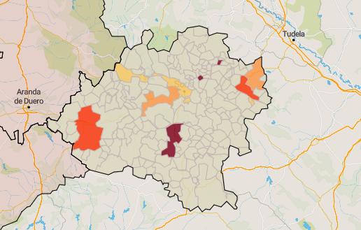 Mapa de la incidencia por municipios.