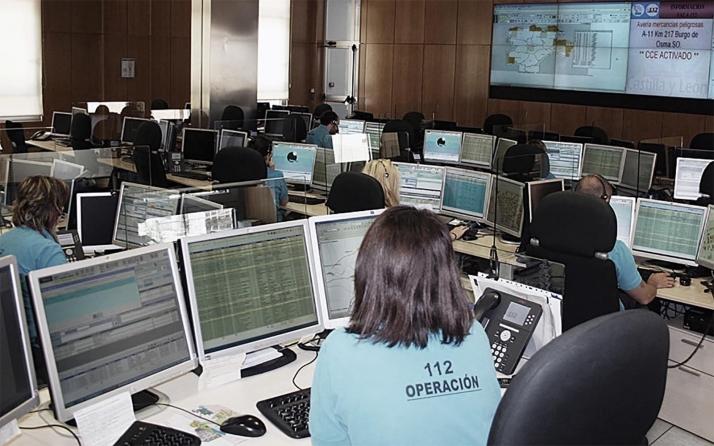 Una imagen de la sala de Emergencias 1-1-2 de Castilla y León.