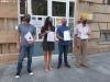 Representantes de la Soria ¡Ya! a las puertas de la Subdelegación del Gobierno.