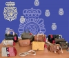 Bolsos recuperados por la Policía Nacional.