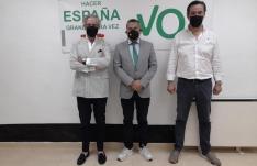 Rivas, Herrero y Ruiz en la sede del partido este viernes. /SN