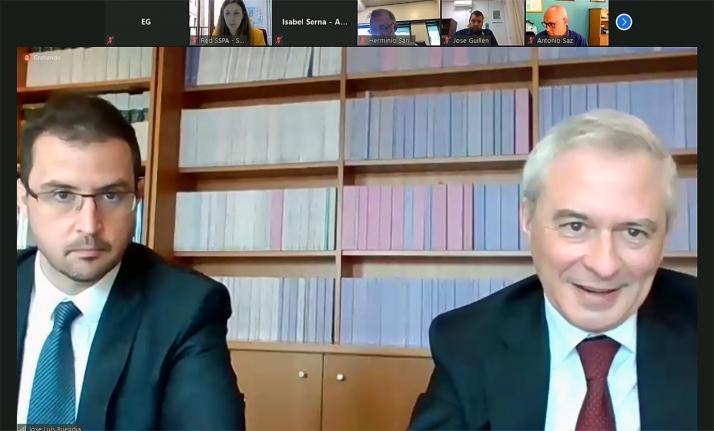 Buendía (izda.) y Lamadrid, durante la ponencia celebrada online. /FOES