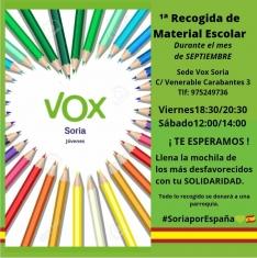 VOX Soria inicia una recogida de material escolar