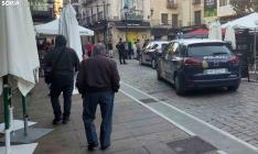 Una imagen de la plaza de Herradores durante la presencia policial. /SN